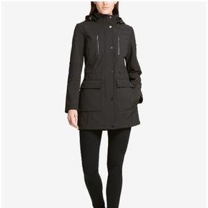 NWT - Women's DKNY Hooded Raincoat - Black size M